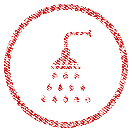 Shower vector textured icon for overlay watermark stamps. Red fabric vectorized texture. Symbol with scratched design. Red ink rubber seal stamp with fiber textile structure.