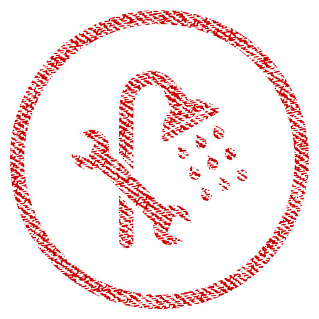 Shower Plumbing vector textured icon for overlay watermark stamps. Red fabric vectorized texture. Symbol with unclean design. Red ink rubber seal stamp with fiber textile structure.