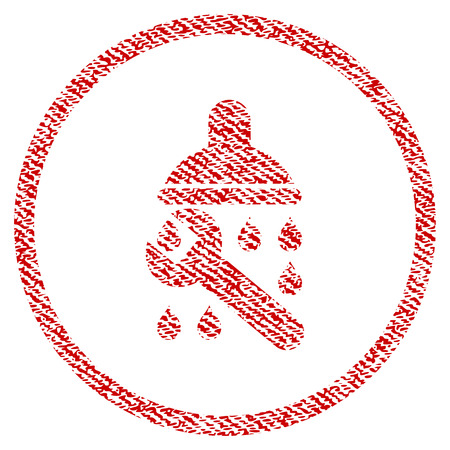 Shower Plumbing vector textured icon for overlay watermark stamps. Red fabric vectorized texture. Symbol with scratched design. Red ink rubber seal stamp with fiber textile structure.