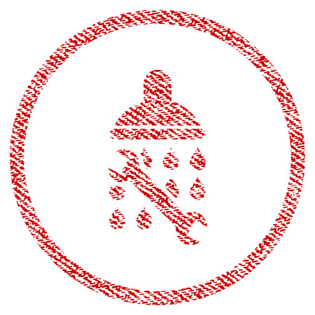 Shower Plumbing vector textured icon for overlay watermark stamps. Red fabric vectorized texture. Symbol with dust design. Red ink rubber seal stamp with fiber textile structure.