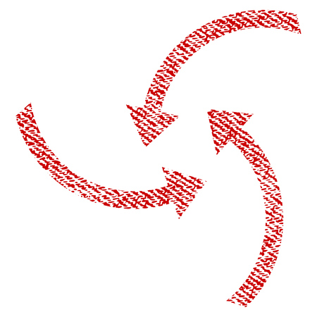Swirl Arrows vector textured icon for overlay watermark stamps. Red fabric vectorized texture. Symbol with dirty design. Red ink rubber seal stamp with fiber textile structure.