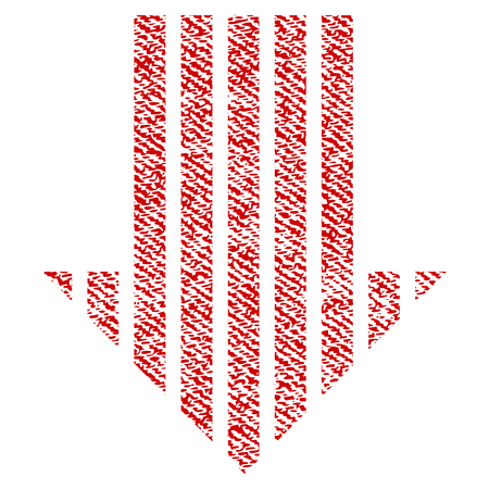 Stripe Arrow Down vector textured icon for overlay watermark stamps. Red fabric vectorized texture. Symbol with dirty design. Red ink rubber seal stamp with fiber textile structure.