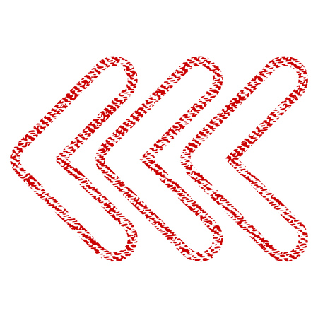 Triple Pointer Left vector textured icon for overlay watermark stamps. Red fabric vectorized texture. Symbol with unclean design. Red ink rubber seal stamp with fiber textile structure.