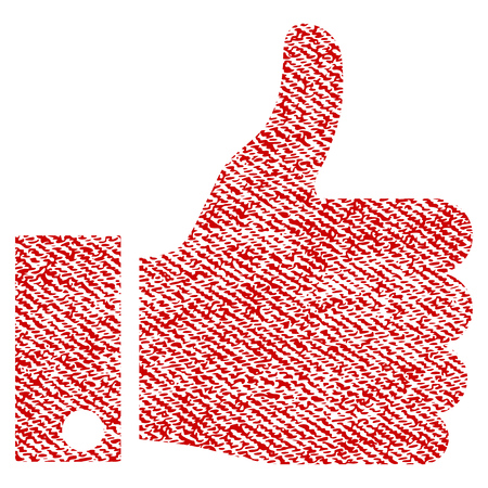 Thumb Up vector textured icon for overlay watermark stamps. Red fabric vectorized texture. Symbol with dirty design. Red ink rubber seal stamp with fiber textile structure.