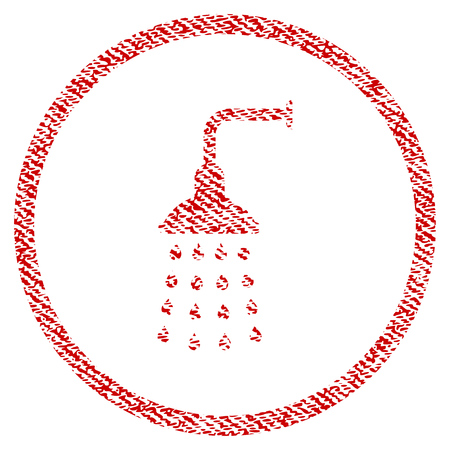 Shower vector textured icon for overlay watermark stamps. Red fabric vectorized texture. Symbol with unclean design. Red ink rubber seal stamp with fiber textile structure.