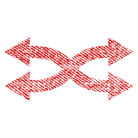 Shuffle Arrows Horizontal vector textured icon for overlay watermark stamps. Red fabric vectorized texture. Symbol with scratched design. Red ink rubber seal stamp with fiber textile structure. Illustration