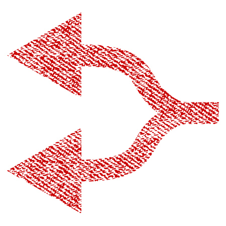bifurcation: Split Arrows Left vector textured icon for overlay watermark stamps. Red fabric vectorized texture. Symbol with dust design. Red ink rubber seal stamp with fiber textile structure.