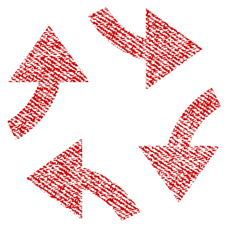 Swirl Arrows vector textured icon for overlay watermark stamps. Red fabric vectorized texture. Symbol with unclean design. Red ink rubber seal stamp with fiber textile structure. Illustration