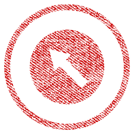 Up-Left Rounded Arrow vector textured icon for overlay watermark stamps. Red fabric vectorized texture. Symbol with dust design. Red ink rubber seal stamp with fiber textile structure. Illustration
