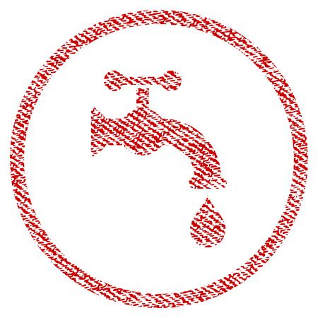 Eau tap vecteur icône texturée pour les timbres de filigrane de superposition. Texture vectorisée de tissu rouge. Symbole avec la conception de la poussière. Timbre de joint en caoutchouc encre rouge avec structure textile en fibre.