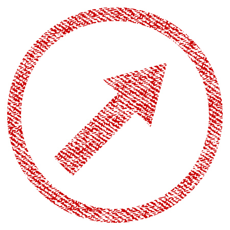Up-Right Rounded Arrow vector textured icon for overlay watermark stamps. Red fabric vectorized texture. Symbol with unclean design. Red ink rubber seal stamp with fiber textile structure.