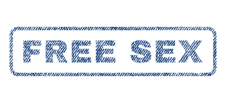 raster sex: Free Sex text textile seal stamp watermark. Blue jeans fabric rasterized texture. Raster caption inside rounded rectangular banner. Rubber sticker with fiber textile structure.