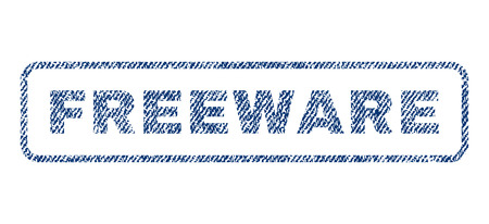freeware: Freeware text textile seal stamp watermark. Blue jeans fabric rasterized texture. Raster caption inside rounded rectangular shape. Rubber sign with fiber textile structure. Stock Photo