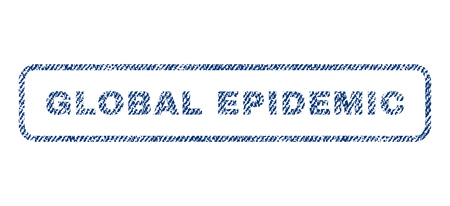 infectious disease: Global Epidemic text textile seal stamp watermark. Blue jeans fabric rasterized texture. Raster tag inside rounded rectangular banner. Rubber emblem with fiber textile structure. Stock Photo