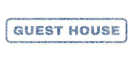 guest house: Guest House text textile seal stamp watermark. Blue jeans fabric rasterized texture. Raster tag inside rounded rectangular shape. Rubber sign with fiber textile structure.