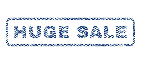 grand sale sticker: Huge Sale text textile seal stamp watermark. Blue jeans fabric rasterized texture. Raster caption inside rounded rectangular banner. Rubber sticker with fiber textile structure.