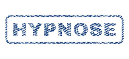 hypnose: Hypnose text textile seal stamp watermark. Blue jeans fabric rasterized texture. Raster tag inside rounded rectangular shape. Rubber sticker with fiber textile structure.