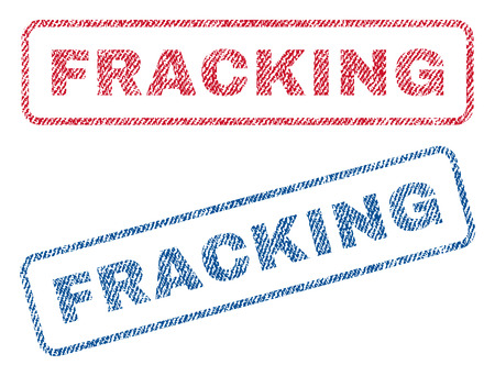 fracking: Fracking text textile seal stamp watermarks. Blue, red fabric vectorized texture. Vector tag inside rounded rectangular shape. Rubber sign with fiber textile structure. Illustration