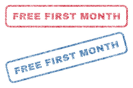 Free First Month text textile seal stamp watermarks. Blue, red fabric vectorized texture. Vector tag inside rounded rectangular banner. Rubber emblem with fiber textile structure.