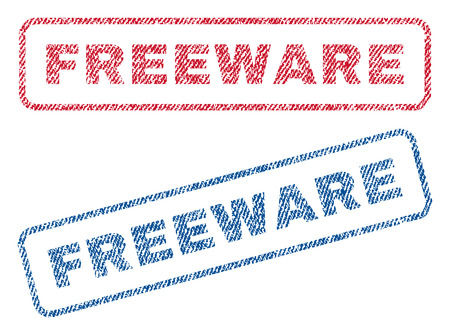 freeware: Freeware text textile seal stamp watermarks. Blue, red fabric vectorized texture. Vector caption inside rounded rectangular banner. Rubber emblem with fiber textile structure. Illustration