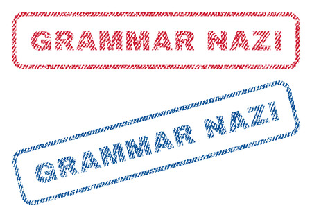 grammatical: Grammar Nazi text textile seal stamp watermarks. Blue, red fabric vectorized texture. Vector caption inside rounded rectangular banner. Rubber sticker with fiber textile structure. Illustration