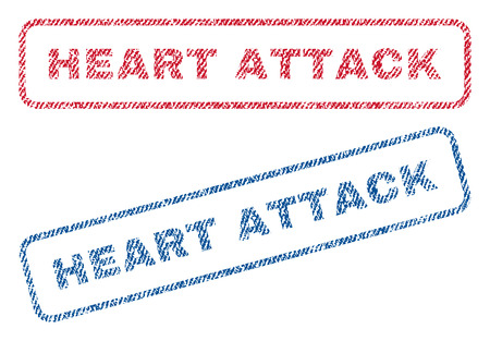 Heart Attack text textile seal stamp watermarks. Blue, red fabric vectorized texture. Vector caption inside rounded rectangular banner. Rubber sticker with fiber textile structure.
