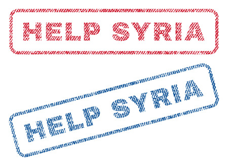 Help Syria text textile seal stamp watermarks. Blue, red fabric vectorized texture. Vector caption inside rounded rectangular banner. Rubber sticker with fiber textile structure. Illustration