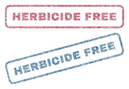 herbicide: Herbicide Free text textile seal stamp watermarks. Blue, red fabric vectorized texture. Vector caption inside rounded rectangular banner. Rubber emblem with fiber textile structure. Illustration