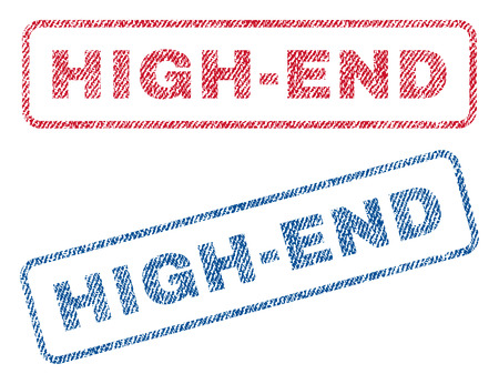 hi end: High-End text textile seal stamp watermarks. Blue, red fabric vectorized texture. Vector tag inside rounded rectangular banner. Rubber emblem with fiber textile structure.