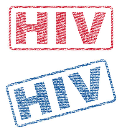 infectious disease: HIV text textile seal stamp watermarks. Blue, red fabric vectorized texture. Vector caption inside rounded rectangular banner. Rubber emblem with fiber textile structure.