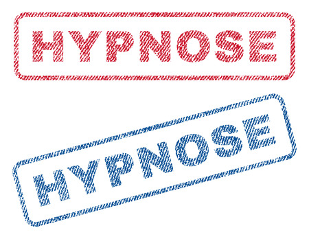 hypnose: Hypnose text textile seal stamp watermarks. Blue, red fabric vectorized texture. Vector tag inside rounded rectangular banner. Rubber sign with fiber textile structure.