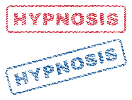 hypnose: Hypnosis text textile seal stamp watermarks. Blue, red fabric vectorized texture. Vector tag inside rounded rectangular shape. Rubber sign with fiber textile structure.
