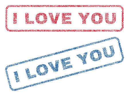 favor: I Love You text textile seal stamp watermarks. Blue, red fabric vectorized texture. Vector tag inside rounded rectangular shape. Rubber sticker with fiber textile structure. Illustration