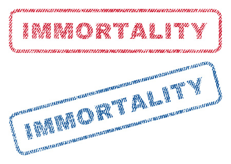 permanent: Immortality text textile seal stamp watermarks. Blue, red fabric vectorized texture. Vector caption inside rounded rectangular banner. Rubber emblem with fiber textile structure. Illustration