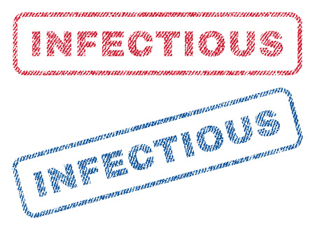 infectious: Infectious text textile seal stamp watermarks. Blue, red fabric vectorized texture. Vector caption inside rounded rectangular shape. Rubber sticker with fiber textile structure.