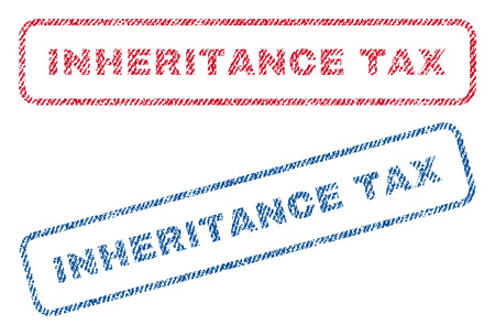 inheritance: Inheritance Tax text textile seal stamp watermarks. Blue, red fabric vectorized texture. Vector tag inside rounded rectangular banner. Rubber emblem with fiber textile structure.