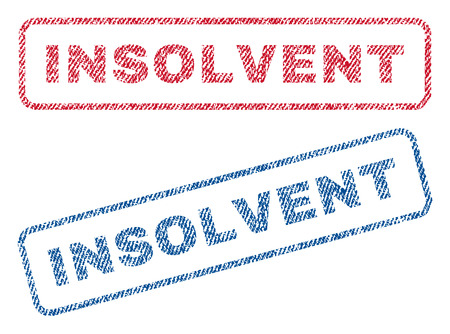 insolvent: Insolvent text textile seal stamp watermarks. Blue, red fabric vectorized texture. Vector caption inside rounded rectangular shape. Rubber sign with fiber textile structure.