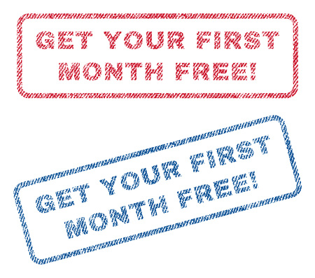 Get Your First Month Free! text textile seal stamp watermarks. Blue, red fabric vectorized texture. Vector tag inside rounded rectangular banner. Rubber sign with fiber textile structure.