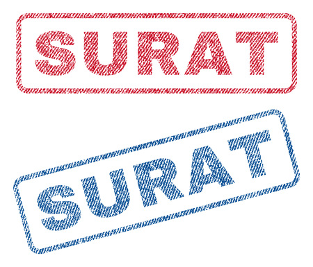 Surat text textile seal stamp watermarks. Blue, red fabric vectorized texture. Vector caption inside rounded rectangular banner. Rubber sticker with fiber textile structure. Illustration