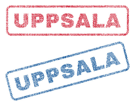 Uppsala text textile seal stamp watermarks. Blue, red fabric vectorized texture. Vector caption inside rounded rectangular shape. Rubber sticker with fiber textile structure.