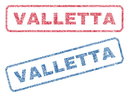 Valletta text textile seal stamp watermarks. Blue, red fabric vectorized texture. Vector tag inside rounded rectangular banner. Rubber sticker with fiber textile structure. Illustration