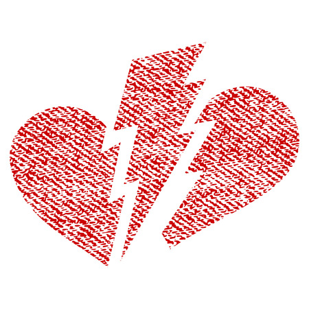 heartbreak issues: Broken Heart vector textured icon for overlay watermark stamps. Red fabric vectorized texture. Symbol with dirty design. Red ink rubber seal stamp with fiber textile structure.