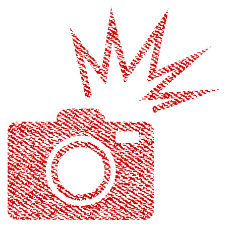 Camera Flash vector textured icon for overlay watermark stamps. Red fabric vectorized texture. Symbol with scratched design. Red ink rubber seal stamp with fiber textile structure.