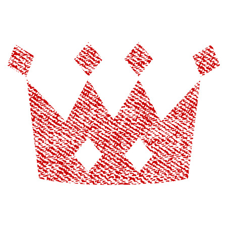 Crown vector textured icon for overlay watermark stamps. Red fabric vectorized texture. Symbol with unclean design. Red ink rubber seal stamp with fiber textile structure.