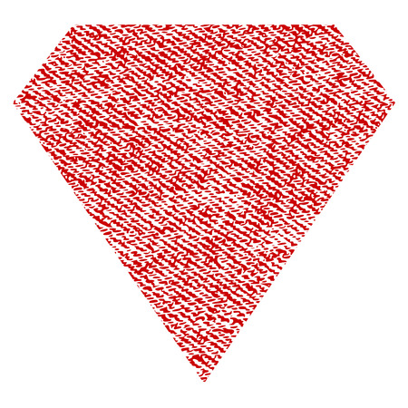 Diamond vector textured icon for overlay watermark stamps. Red fabric vectorized texture. Symbol with unclean design. Red ink rubber seal stamp with fiber textile structure.