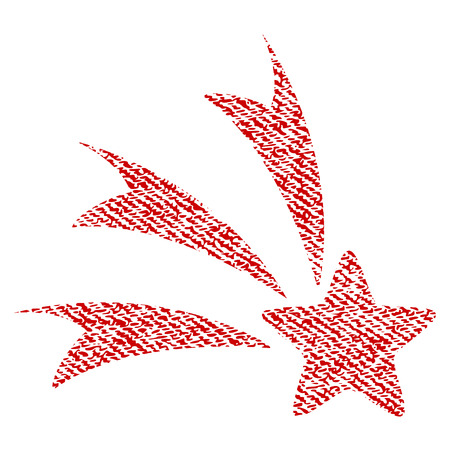 gift accident: Falling Star vector textured icon for overlay watermark stamps. Red fabric vectorized texture. Symbol with unclean design. Red ink rubber seal stamp with fiber textile structure.
