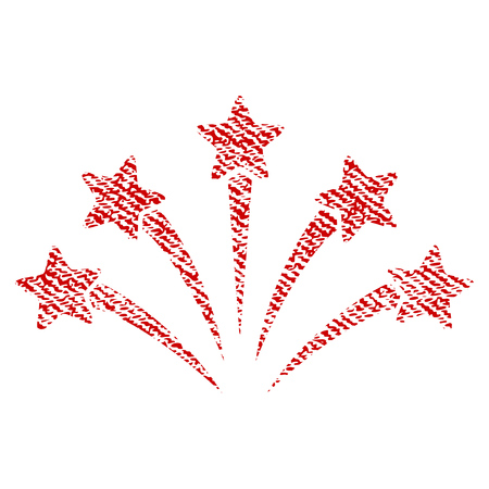 christmas cracker: Fireworks Burst vector textured icon for overlay watermark stamps. Red fabric vectorized texture. Symbol with dust design. Red ink rubber seal stamp with fiber textile structure.