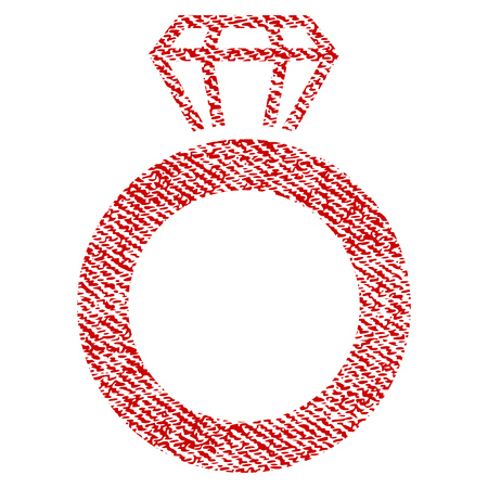 Gem Ring vector textured icon for overlay watermark stamps. Red fabric vectorized texture. Symbol with unclean design. Red ink rubber seal stamp with fiber textile structure.