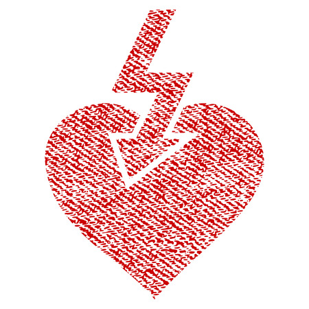 Heart Shock Strike vector textured icon for overlay watermark stamps. Red fabric vectorized texture. Symbol with dust design. Red ink rubber seal stamp with fiber textile structure.