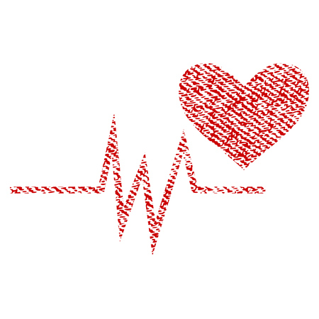 Heart Pulse Signal vector textured icon for overlay watermark stamps. Red fabric vectorized texture. Symbol with dirty design. Red ink rubber seal stamp with fiber textile structure.